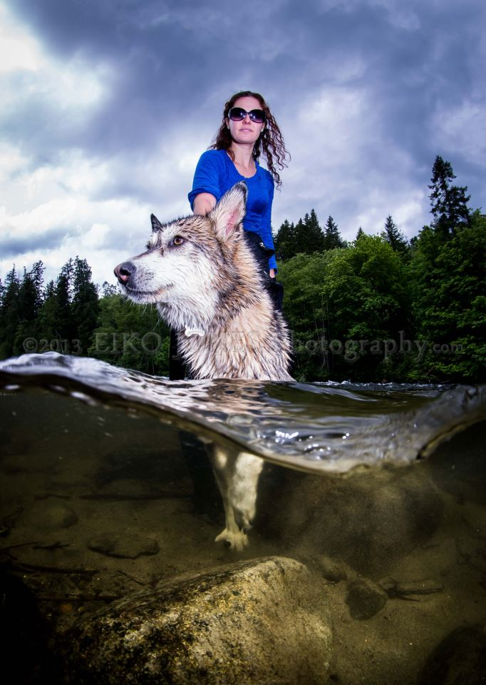 Shannon and her dog Cedar in the river -Eiko Jones Photography